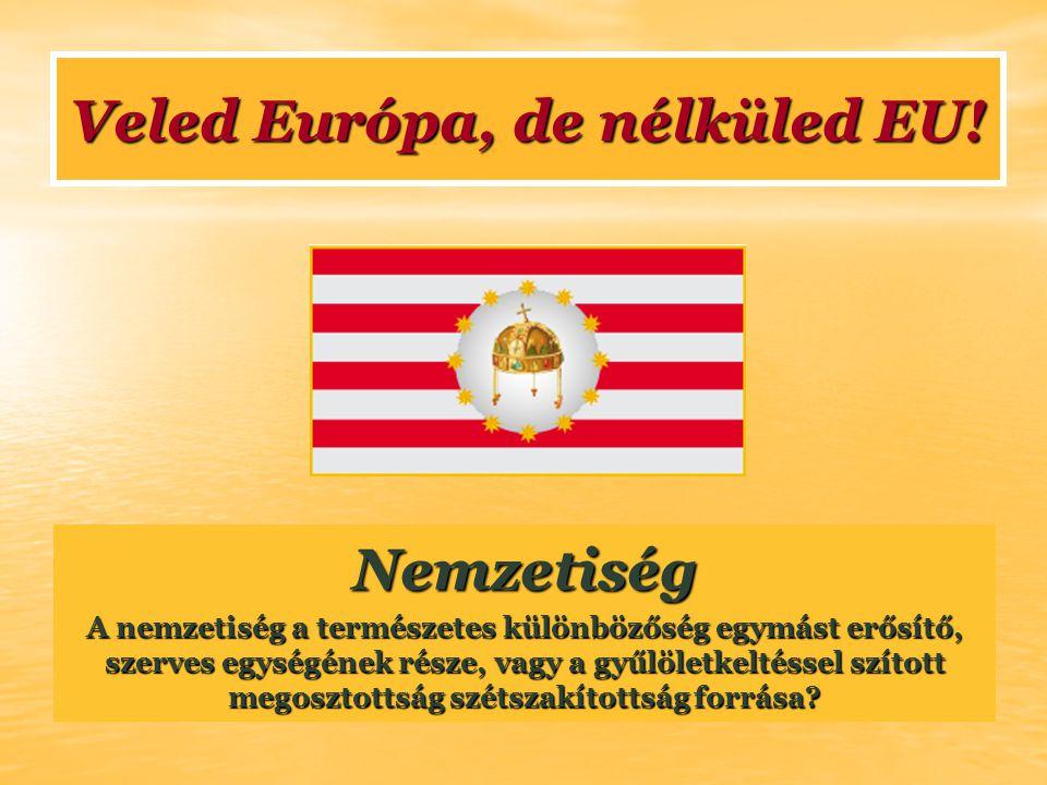 Nemzetiség A nemzetiség a természetes különbözőség egymást erősítő, szerves egységének része, vagy a gyűlöletkeltéssel szított megosztottság szétszakí
