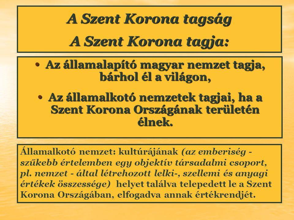 A Szent Korona tagság A Szent Korona tagja: Az államalapító magyar nemzet tagja, bárhol él a világon, Az államalapító magyar nemzet tagja, bárhol él a
