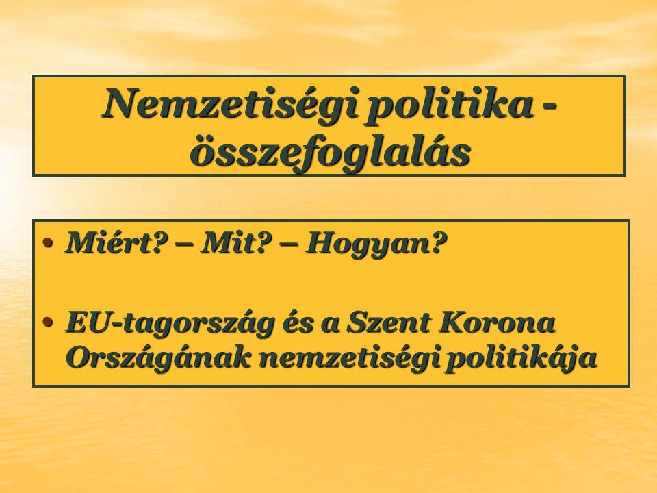 Nemzetiségi politika - összefoglalás Miért? – Mit? – Hogyan? Miért? – Mit? – Hogyan? EU-tagország és a Szent Korona Országának nemzetiségi politikája