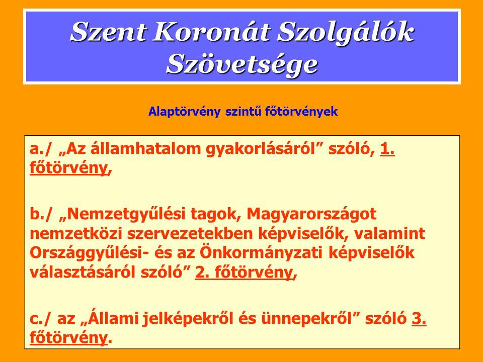 """Szent Koronát Szolgálók Szövetsége a./ """"Az államhatalom gyakorlásáról"""" szóló, 1. főtörvény,1. főtörvény b./ """"Nemzetgyűlési tagok, Magyarországot nemze"""