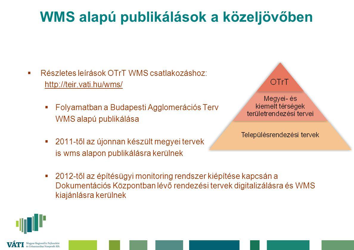 WMS alapú publikálások a közeljövőben  Részletes leírások OTrT WMS csatlakozáshoz: http://teir.vati.hu/wms/  Folyamatban a Budapesti Agglomerációs T