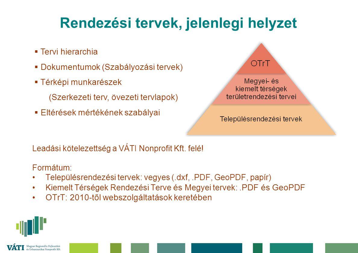 Rendezési tervek, jelenlegi helyzet Leadási kötelezettség a VÁTI Nonprofit Kft. felé! Formátum: Településrendezési tervek: vegyes (.dxf,.PDF, GeoPDF,