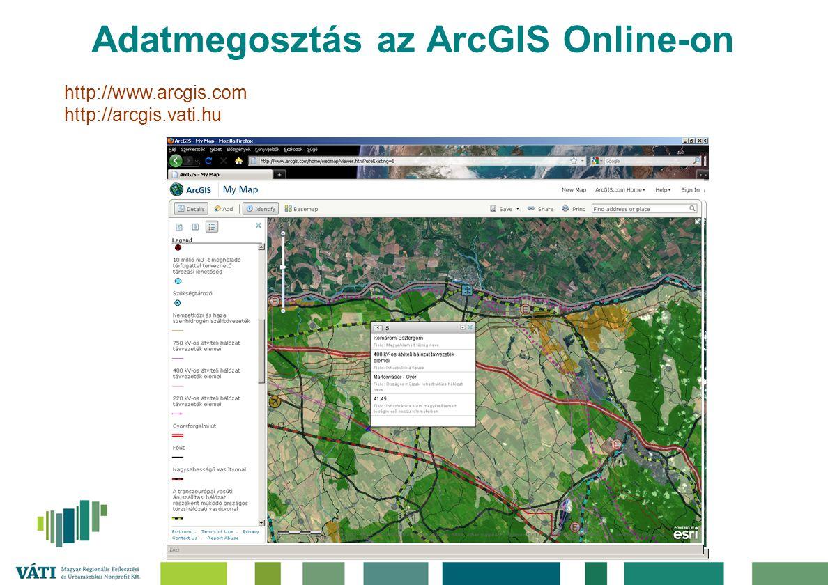 Adatmegosztás az ArcGIS Online-on http://www.arcgis.com http://arcgis.vati.hu
