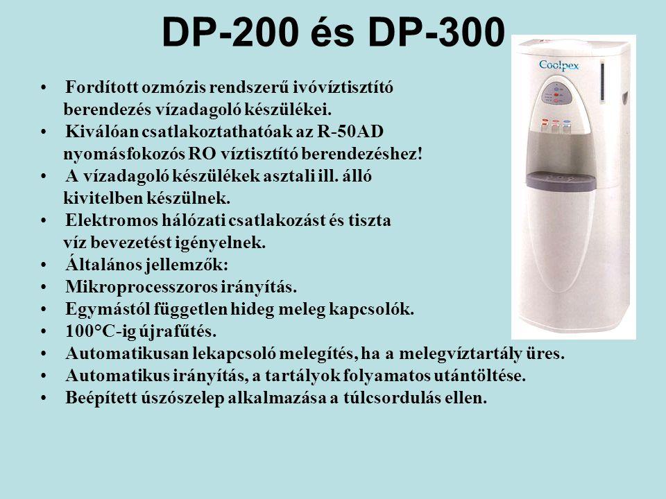 DP-200 és DP-300 Fordított ozmózis rendszerű ivóvíztisztító berendezés vízadagoló készülékei.
