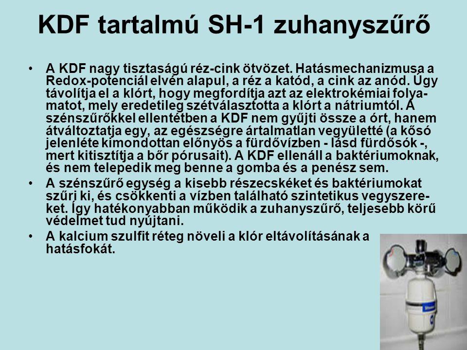 KDF tartalmú SH-1 zuhanyszűrő A KDF nagy tisztaságú réz-cink ötvözet.