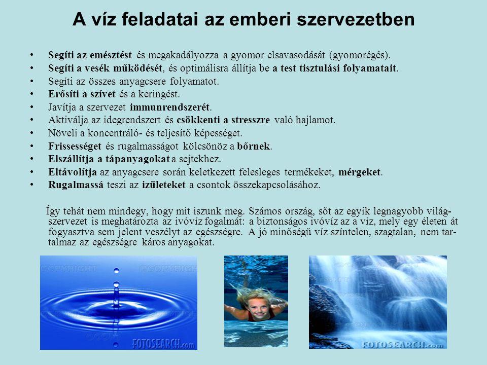 A víz feladatai az emberi szervezetben Segíti az emésztést és megakadályozza a gyomor elsavasodását (gyomorégés).