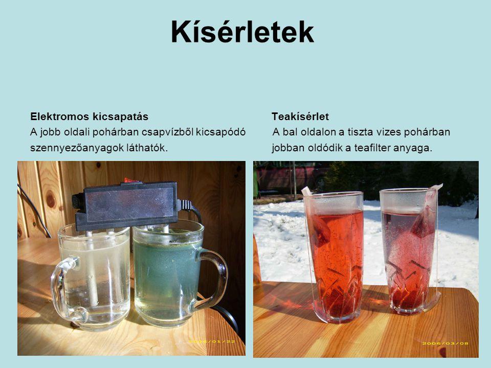 Kísérletek Elektromos kicsapatás Teakísérlet A jobb oldali pohárban csapvízből kicsapódó A bal oldalon a tiszta vizes pohárban szennyezőanyagok láthatók.