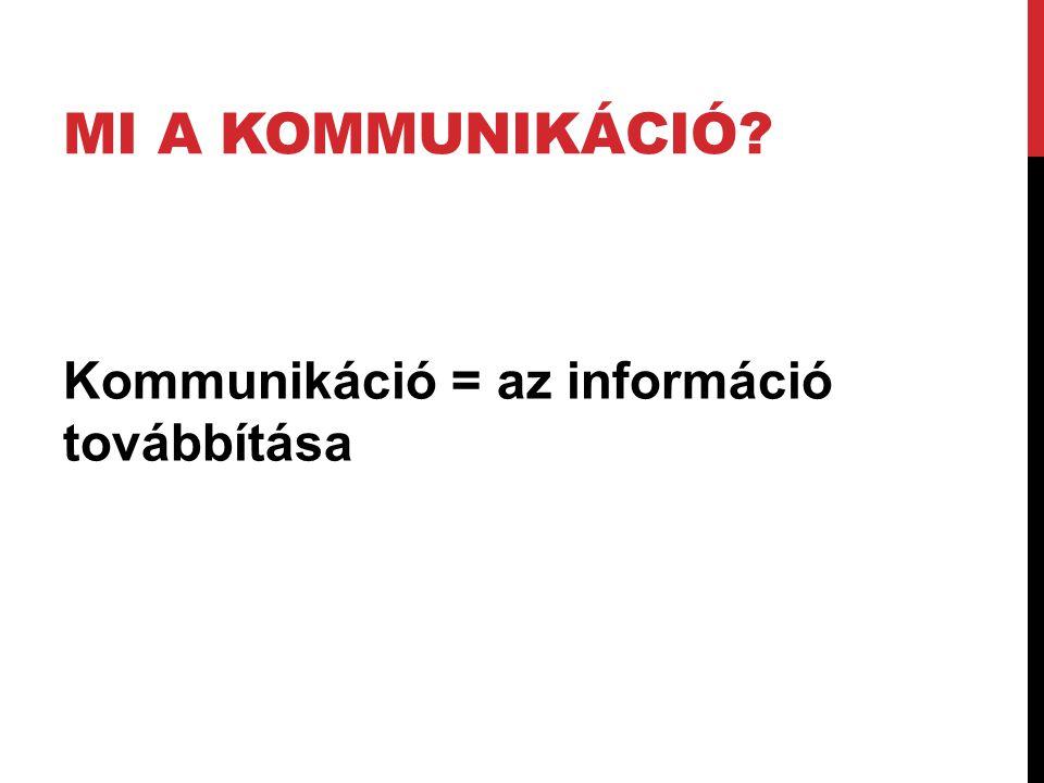 MI A KOMMUNIKÁCIÓ? Kommunikáció = az információ továbbítása