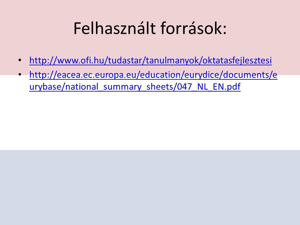 Felhasznált források: http://www.ofi.hu/tudastar/tanulmanyok/oktatasfejlesztesi http://eacea.ec.europa.eu/education/eurydice/documents/e urybase/national_summary_sheets/047_NL_EN.pdf http://eacea.ec.europa.eu/education/eurydice/documents/e urybase/national_summary_sheets/047_NL_EN.pdf