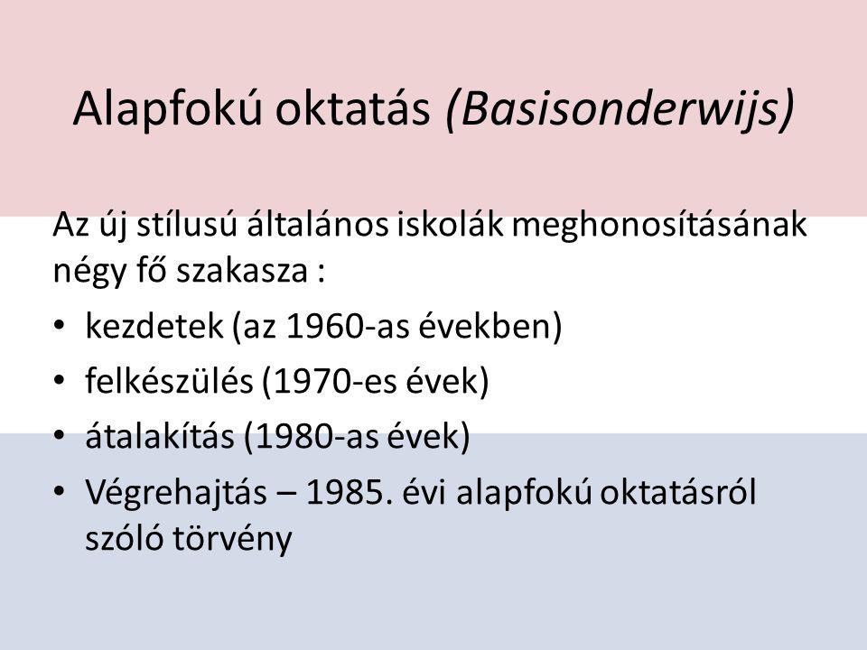 Alapfokú oktatás (Basisonderwijs) Az új stílusú általános iskolák meghonosításának négy fő szakasza : kezdetek (az 1960-as években) felkészülés (1970-es évek) átalakítás (1980-as évek) Végrehajtás – 1985.