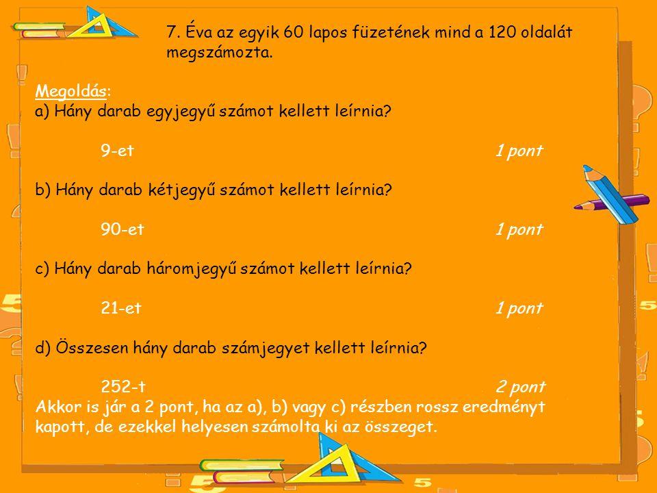 7. Éva az egyik 60 lapos füzetének mind a 120 oldalát megszámozta. Megoldás: a) Hány darab egyjegyű számot kellett leírnia? 9-et 1 pont b) Hány darab