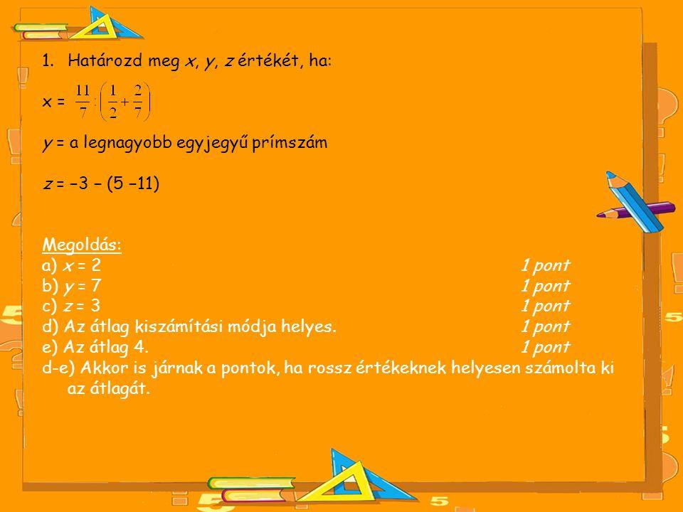 1.Határozd meg x, y, z értékét, ha: x = y = a legnagyobb egyjegyű prímszám z = −3 − (5 −11) Megoldás: a) x = 2 1 pont b) y = 7 1 pont c) z = 3 1 pont