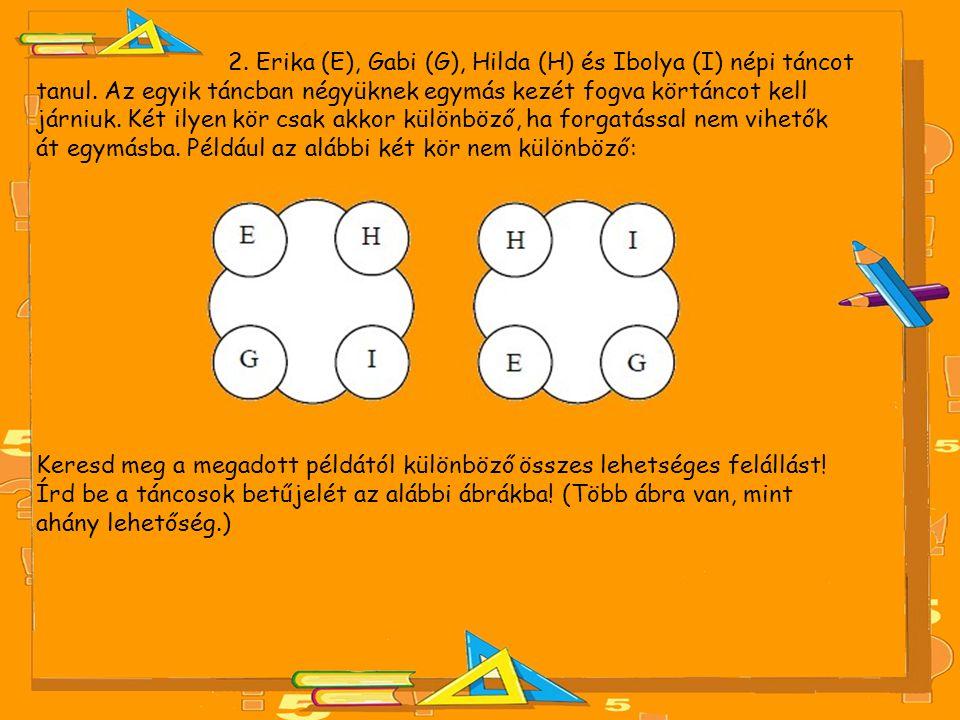 2. Erika (E), Gabi (G), Hilda (H) és Ibolya (I) népi táncot tanul. Az egyik táncban négyüknek egymás kezét fogva körtáncot kell járniuk. Két ilyen kör