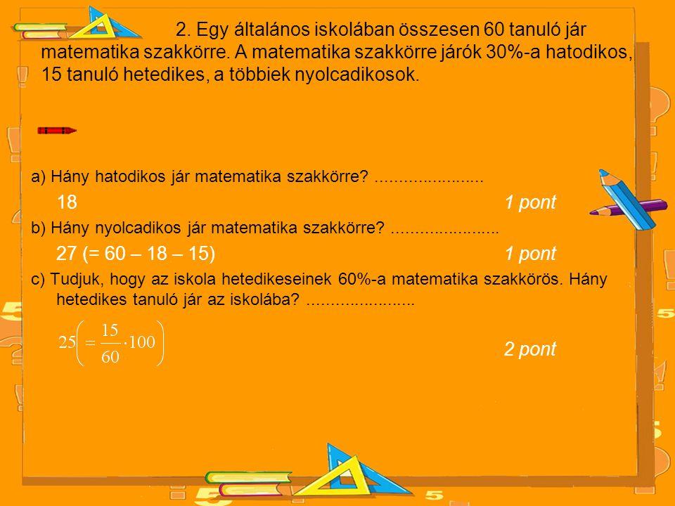 2. Egy általános iskolában összesen 60 tanuló jár matematika szakkörre. A matematika szakkörre járók 30%-a hatodikos, 15 tanuló hetedikes, a többiek n