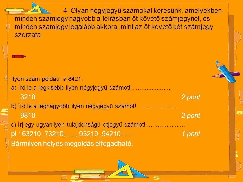 4. Olyan négyjegyű számokat keresünk, amelyekben minden számjegy nagyobb a leírásban őt követő számjegynél, és minden számjegy legalább akkora, mint a