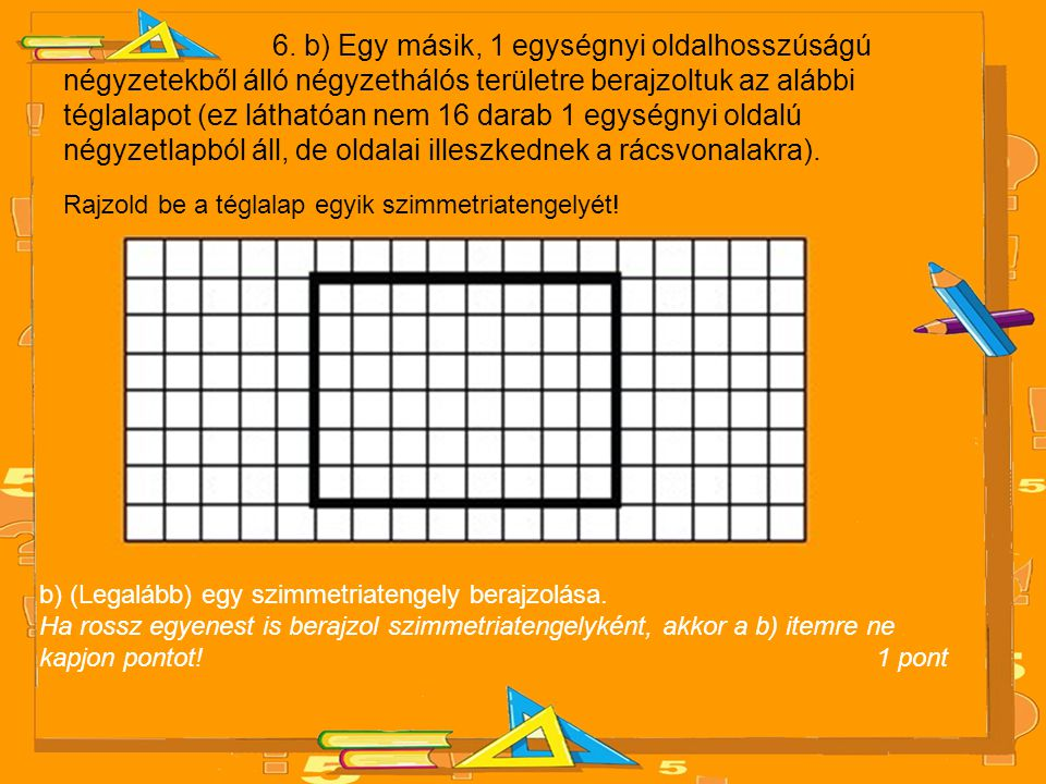 6. b) Egy másik, 1 egységnyi oldalhosszúságú négyzetekből álló négyzethálós területre berajzoltuk az alábbi téglalapot (ez láthatóan nem 16 darab 1 eg