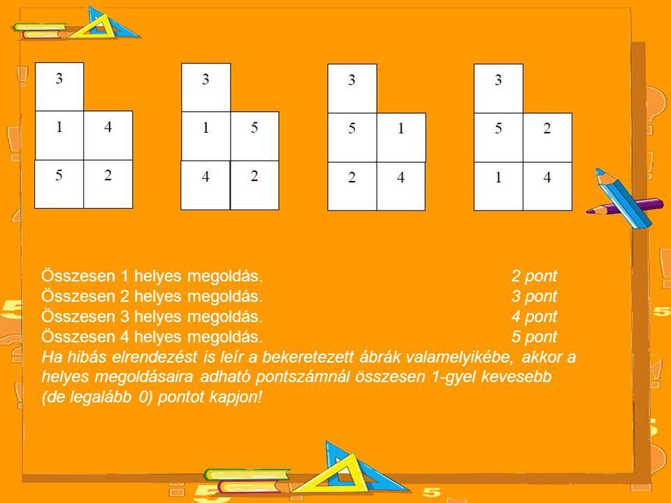 Összesen 1 helyes megoldás. 2 pont Összesen 2 helyes megoldás. 3 pont Összesen 3 helyes megoldás. 4 pont Összesen 4 helyes megoldás. 5 pont Ha hibás e