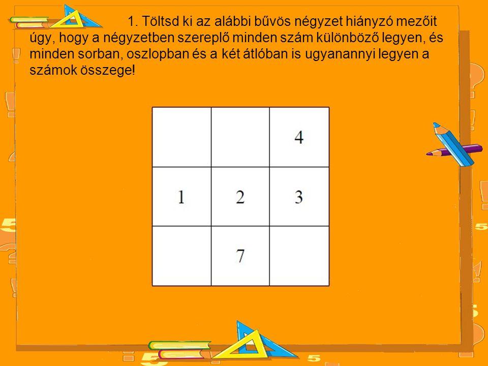1. Töltsd ki az alábbi bűvös négyzet hiányzó mezőit úgy, hogy a négyzetben szereplő minden szám különböző legyen, és minden sorban, oszlopban és a két