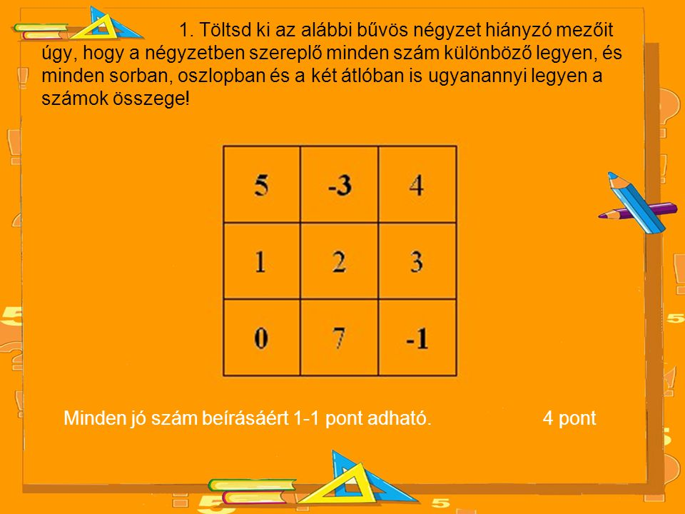 Minden jó szám beírásáért 1-1 pont adható. 4 pont