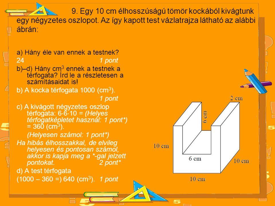 9.Egy 10 cm élhosszúságú tömör kockából kivágtunk egy négyzetes oszlopot.