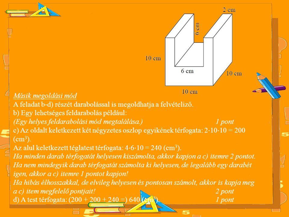 Másik megoldási mód A feladat b-d) részét darabolással is megoldhatja a felvételiző.