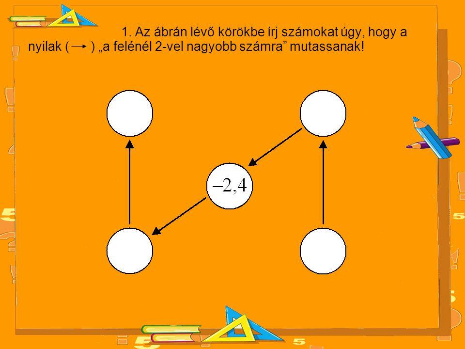"""1. Az ábrán lévő körökbe írj számokat úgy, hogy a nyilak ( ) """"a felénél 2-vel nagyobb számra"""" mutassanak!"""