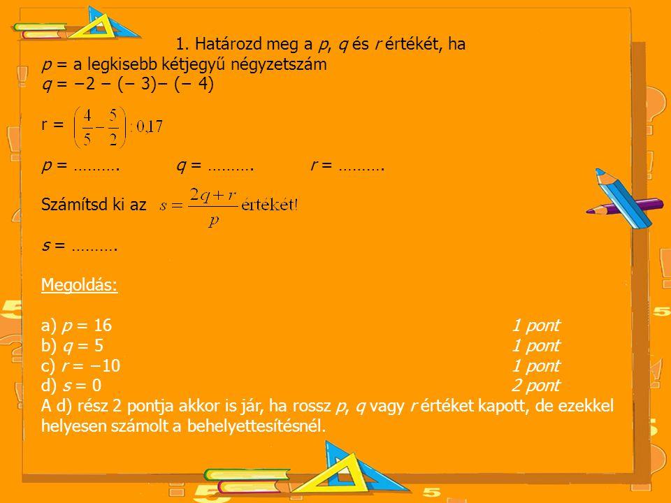 1. Határozd meg a p, q és r értékét, ha p = a legkisebb kétjegyű négyzetszám q = −2 − (− 3)− (− 4) r = p = ………. q = ………. r = ………. Számítsd ki az s = …