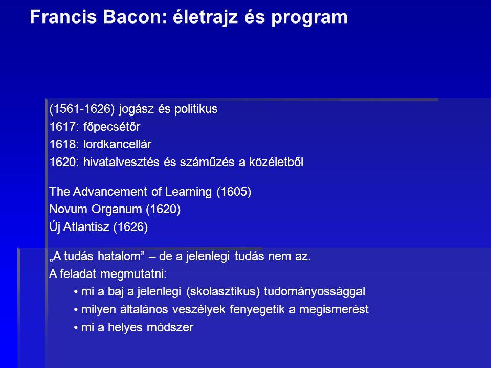 """Francis Bacon: életrajz és program (1561-1626) jogász és politikus 1617: főpecsétőr 1618: lordkancellár 1620: hivatalvesztés és száműzés a közéletből The Advancement of Learning (1605) Novum Organum (1620) Új Atlantisz (1626) """"A tudás hatalom – de a jelenlegi tudás nem az."""