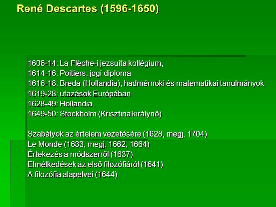 1606-14: La Flèche-i jezsuita kollégium, 1614-16: Poitiers, jogi diploma 1616-18: Breda (Hollandia), hadmérnöki és matematikai tanulmányok 1619-28: utazások Európában 1628-49: Hollandia 1649-50: Stockholm (Krisztina királynő) Szabályok az értelem vezetésére (1628, megj.