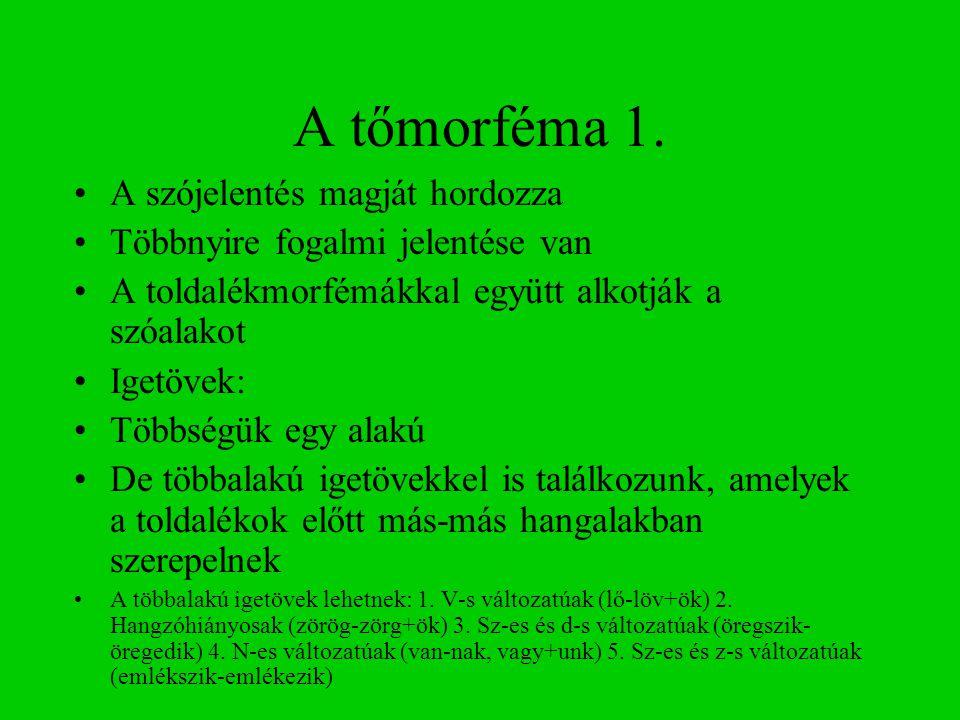 A tőmorféma 1.