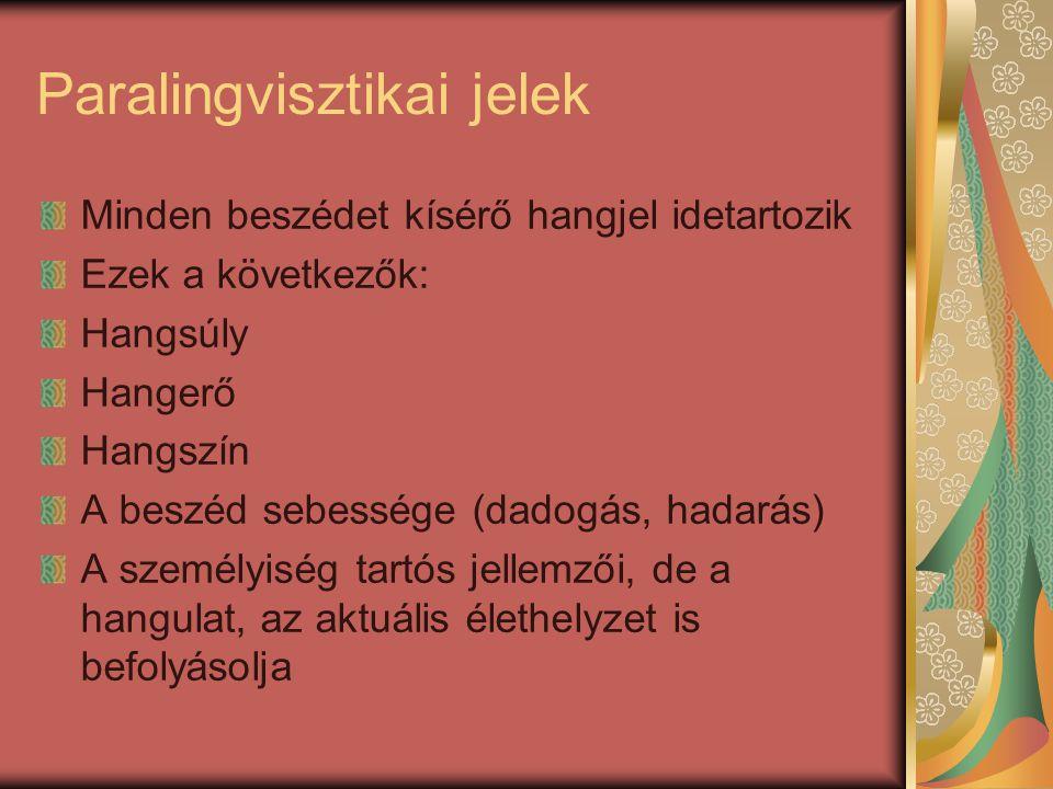 Paralingvisztikai jelek Minden beszédet kísérő hangjel idetartozik Ezek a következők: Hangsúly Hangerő Hangszín A beszéd sebessége (dadogás, hadarás)