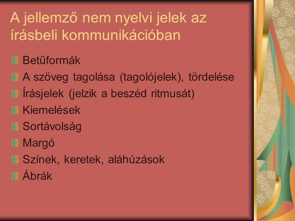 A jellemző nem nyelvi jelek az írásbeli kommunikációban Betűformák A szöveg tagolása (tagolójelek), tördelése Írásjelek (jelzik a beszéd ritmusát) Kiemelések Sortávolság Margó Színek, keretek, aláhúzások Ábrák