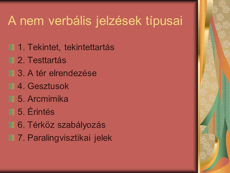 A nem verbális jelzések típusai 1. Tekintet, tekintettartás 2. Testtartás 3. A tér elrendezése 4. Gesztusok 5. Arcmimika 5. Érintés 6. Térköz szabályo