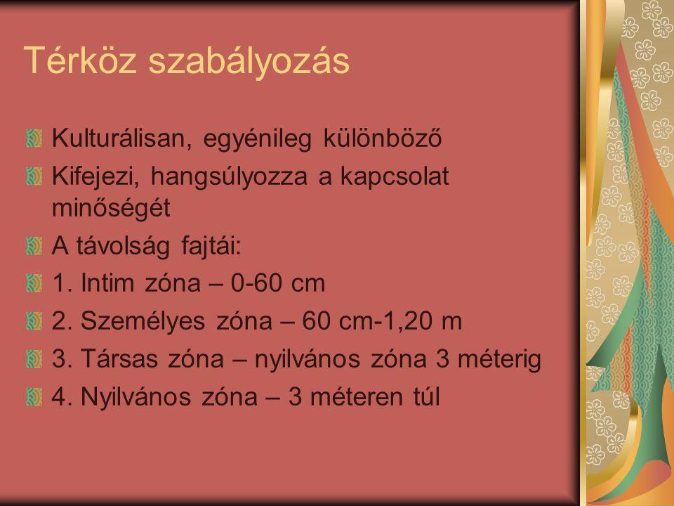 Térköz szabályozás Kulturálisan, egyénileg különböző Kifejezi, hangsúlyozza a kapcsolat minőségét A távolság fajtái: 1. Intim zóna – 0-60 cm 2. Személ