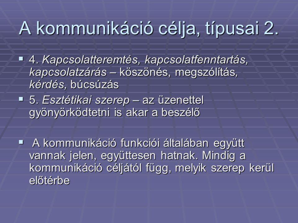 A kommunikáció típusai  1.