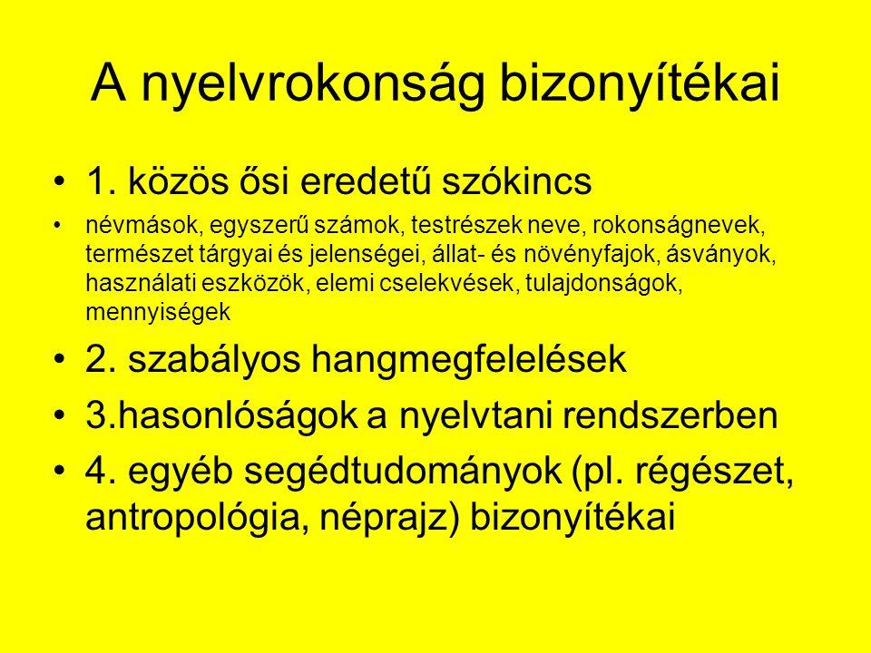 A nyelvrokonság bizonyítékai 1.
