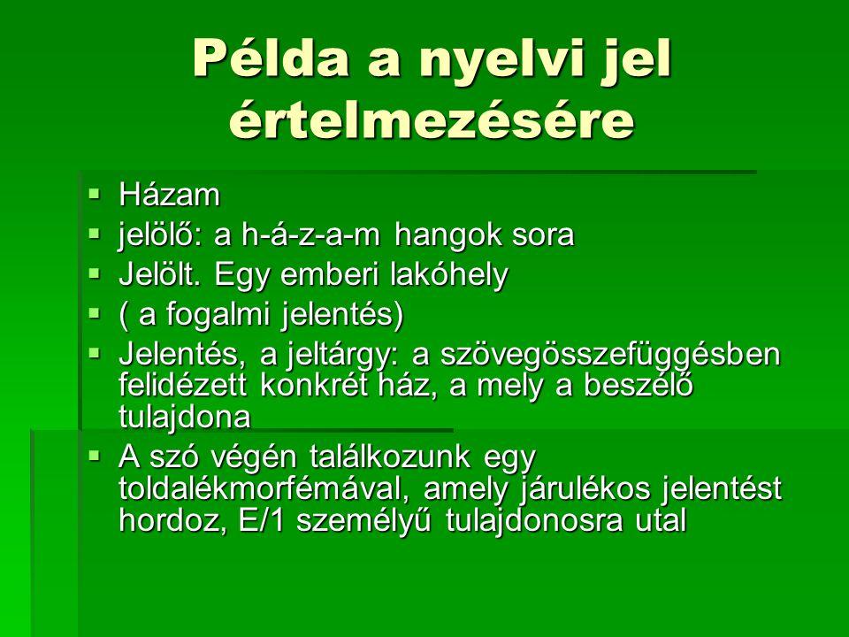 Példa a nyelvi jel értelmezésére  Házam  jelölő: a h-á-z-a-m hangok sora  Jelölt. Egy emberi lakóhely  ( a fogalmi jelentés)  Jelentés, a jeltárg