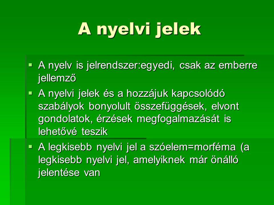 A nyelvi jelek  A nyelv is jelrendszer:egyedi, csak az emberre jellemző  A nyelvi jelek és a hozzájuk kapcsolódó szabályok bonyolult összefüggések,