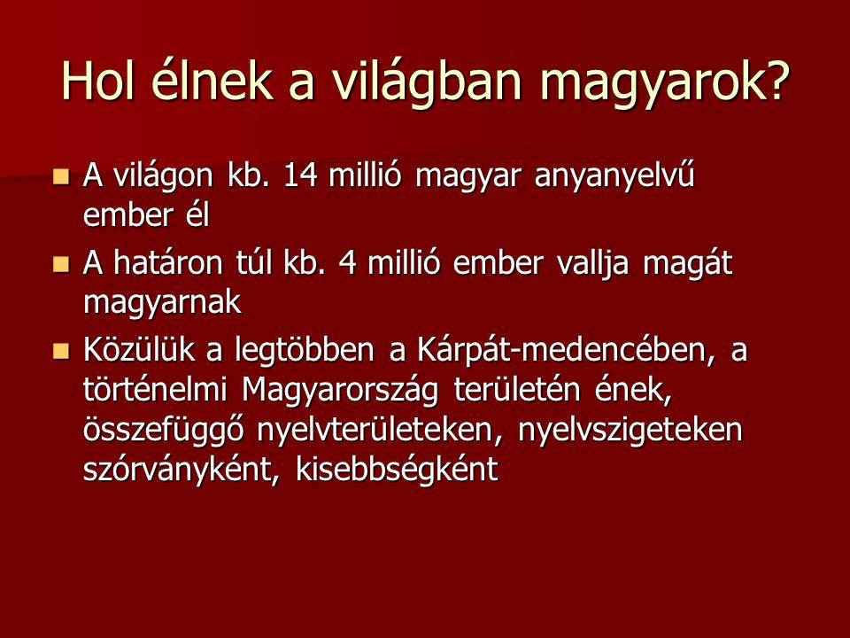 Hol élnek a világban magyarok? A világon kb. 14 millió magyar anyanyelvű ember él A világon kb. 14 millió magyar anyanyelvű ember él A határon túl kb.