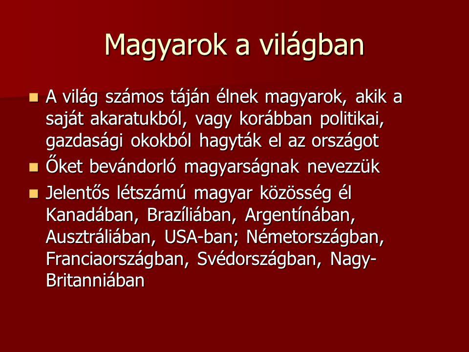 Magyarok a világban A világ számos táján élnek magyarok, akik a saját akaratukból, vagy korábban politikai, gazdasági okokból hagyták el az országot A világ számos táján élnek magyarok, akik a saját akaratukból, vagy korábban politikai, gazdasági okokból hagyták el az országot Őket bevándorló magyarságnak nevezzük Őket bevándorló magyarságnak nevezzük Jelentős létszámú magyar közösség él Kanadában, Brazíliában, Argentínában, Ausztráliában, USA-ban; Németországban, Franciaországban, Svédországban, Nagy- Britanniában Jelentős létszámú magyar közösség él Kanadában, Brazíliában, Argentínában, Ausztráliában, USA-ban; Németországban, Franciaországban, Svédországban, Nagy- Britanniában