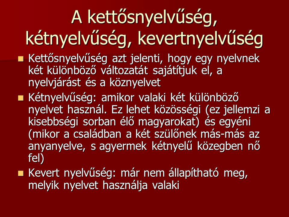 A kettősnyelvűség, kétnyelvűség, kevertnyelvűség Kettősnyelvűség azt jelenti, hogy egy nyelvnek két különböző változatát sajátítjuk el, a nyelvjárást és a köznyelvet Kettősnyelvűség azt jelenti, hogy egy nyelvnek két különböző változatát sajátítjuk el, a nyelvjárást és a köznyelvet Kétnyelvűség: amikor valaki két különböző nyelvet használ.