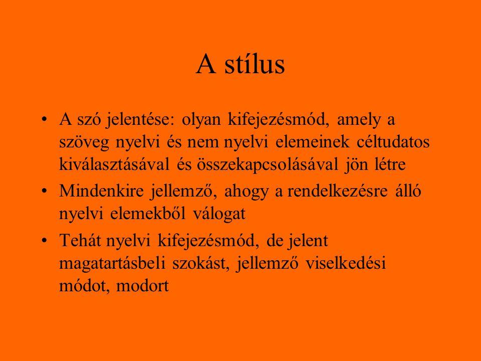 A stílus A szó jelentése: olyan kifejezésmód, amely a szöveg nyelvi és nem nyelvi elemeinek céltudatos kiválasztásával és összekapcsolásával jön létre Mindenkire jellemző, ahogy a rendelkezésre álló nyelvi elemekből válogat Tehát nyelvi kifejezésmód, de jelent magatartásbeli szokást, jellemző viselkedési módot, modort