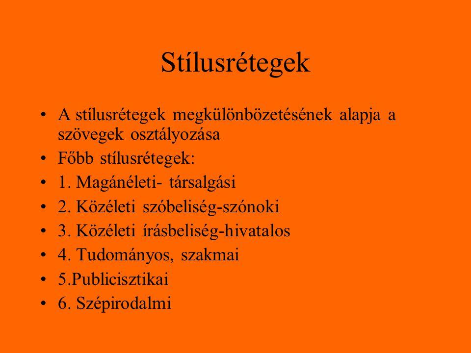 Stílusrétegek A stílusrétegek megkülönbözetésének alapja a szövegek osztályozása Főbb stílusrétegek: 1. Magánéleti- társalgási 2. Közéleti szóbeliség-