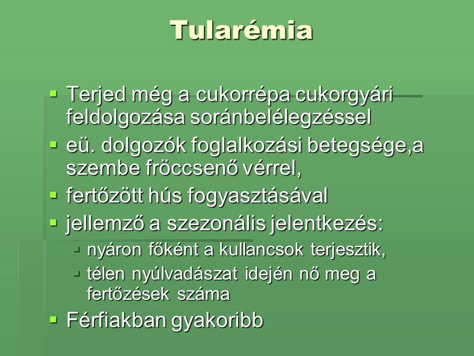 Tularémia  Terjed még a cukorrépa cukorgyári feldolgozása soránbelélegzéssel  eü. dolgozók foglalkozási betegsége,a szembe fröccsenő vérrel,  fertő