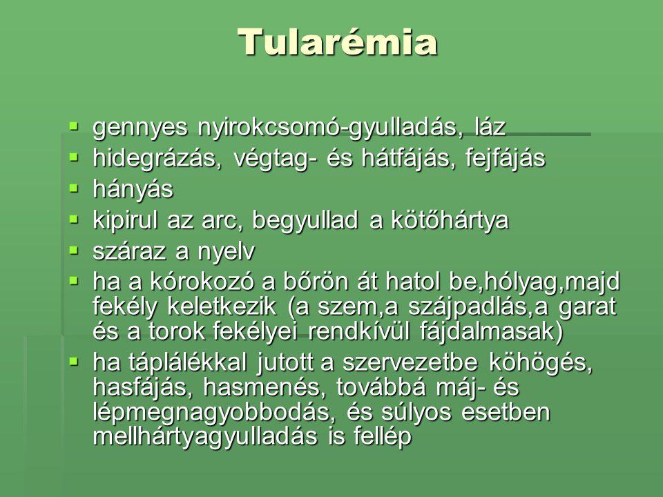 Tularémia  gennyes nyirokcsomó-gyulladás, láz  hidegrázás, végtag- és hátfájás, fejfájás  hányás  kipirul az arc, begyullad a kötőhártya  száraz