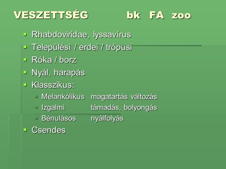 VESZETTSÉGbkFAzoo  Rhabdoviridae, lyssavírus  Települési / erdei / trópusi  Róka / borz  Nyál, harapás  Klasszikus:  Melankólikusmagatartás vált