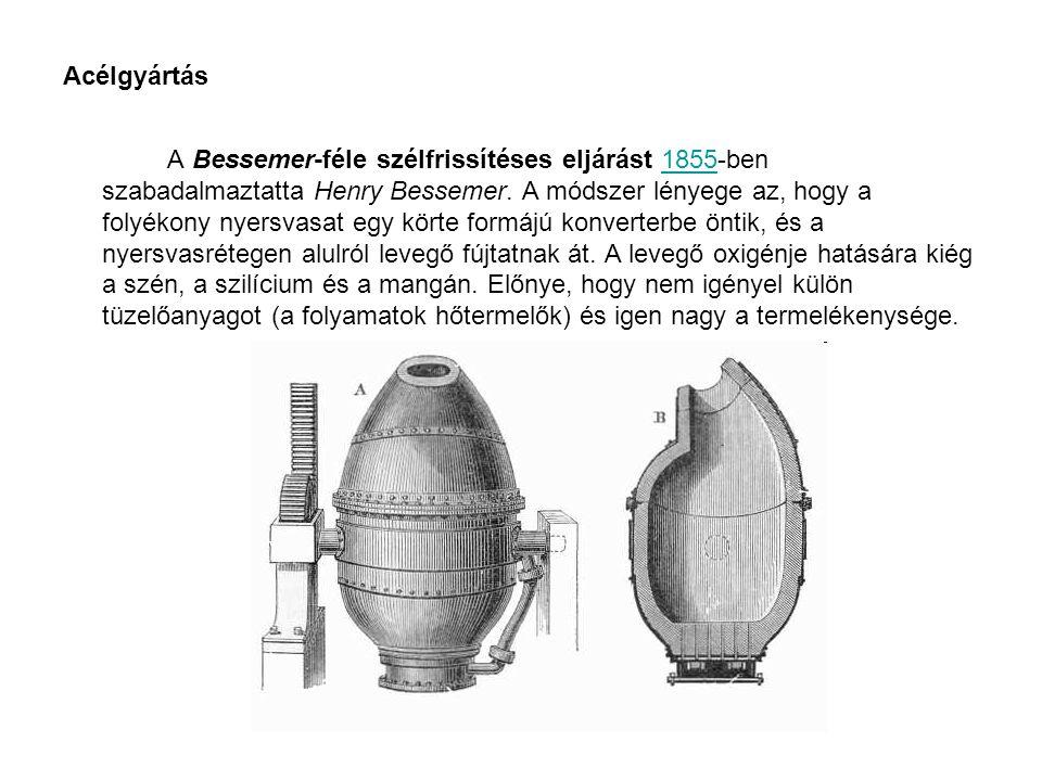 Acélgyártás A Bessemer-féle szélfrissítéses eljárást 1855-ben szabadalmaztatta Henry Bessemer. A módszer lényege az, hogy a folyékony nyersvasat egy k