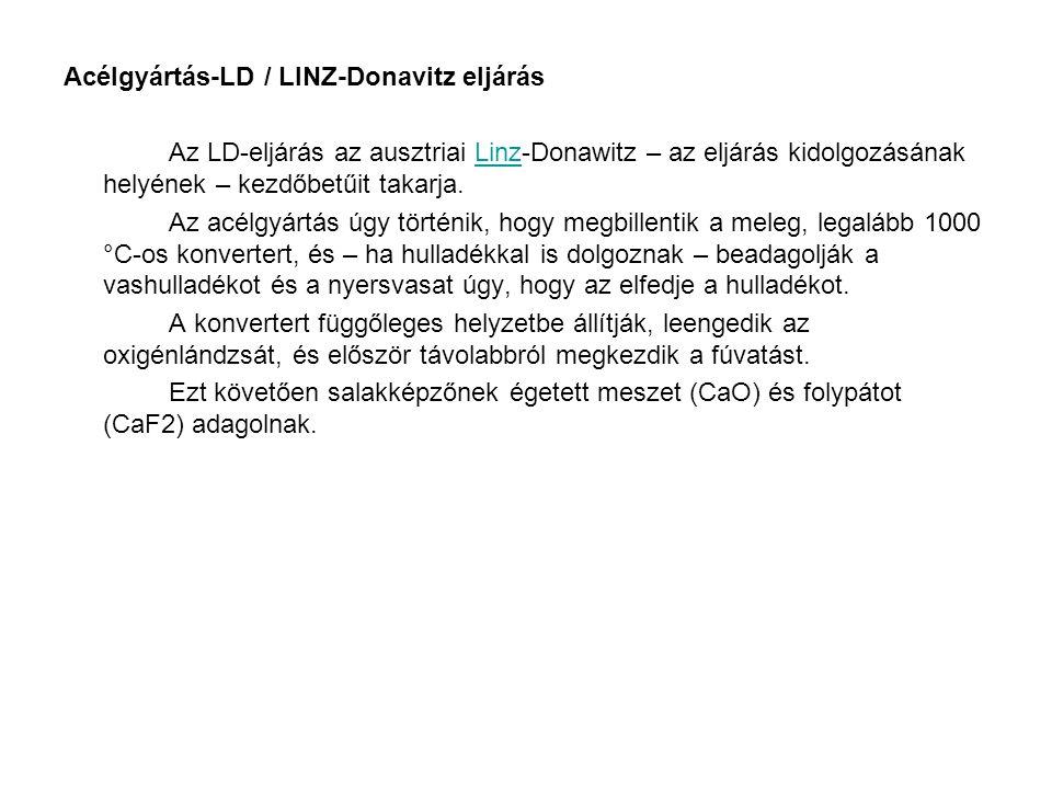 Acélgyártás-LD / LINZ-Donavitz eljárás Az LD-eljárás az ausztriai Linz-Donawitz – az eljárás kidolgozásának helyének – kezdőbetűit takarja.Linz Az acé