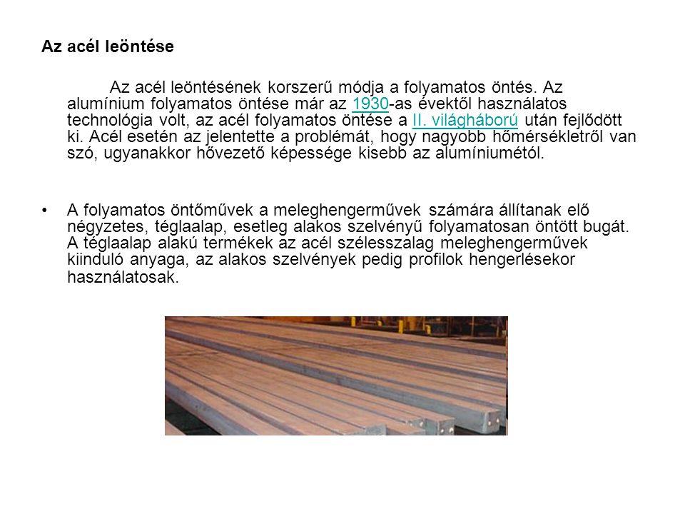 Az acél leöntésének korszerű módja a folyamatos öntés. Az alumínium folyamatos öntése már az 1930-as évektől használatos technológia volt, az acél fol