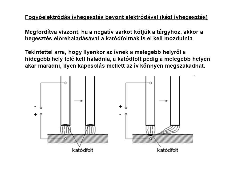 Fogyóelektródás ívhegesztés bevont elektródával (kézi ívhegesztés) Megfordítva viszont, ha a negatív sarkot kötjük a tárgyhoz, akkor a hegesztés előre